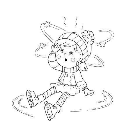sudden: Coloring Page Outline Of cartoon girl skating. Winter sports. Sudden drop. Coloring book for kids Illustration