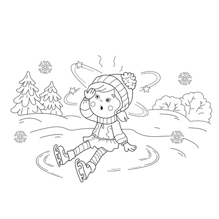 sudden: Coloring Page Outline Of girl skating. Winter sports. Sudden drop. Coloring book for kids.