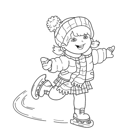 relay: Coloring Page Outline Of girl skating. Winter sports. Coloring book for kids.