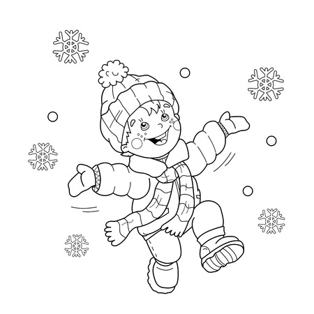 Coloring Page Outline Of Cartoon Boy Jumping For Joy First Snow Winter