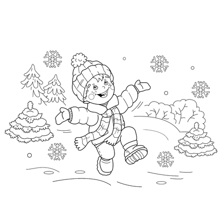 Coloring Page Outline Of Cartoon Boy Riding On Skis Winter Sports General Jumping Coloring Books