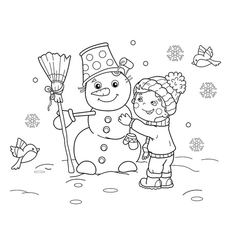 Coloring Page Outline Of Cartoon Boy With Snowman Winter Book For Kids Vector