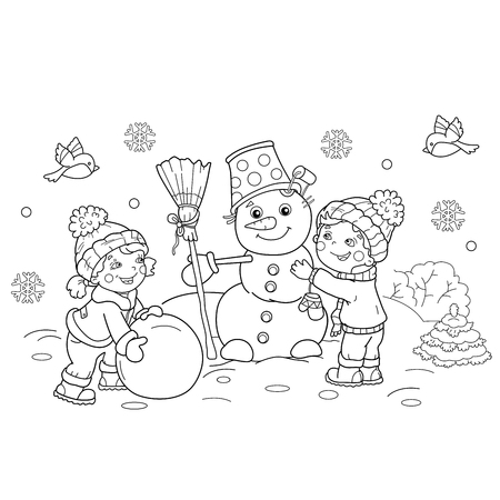 Coloring Page Outline Of cartoon boy with girl making snowman together. Winter. Coloring book for kids