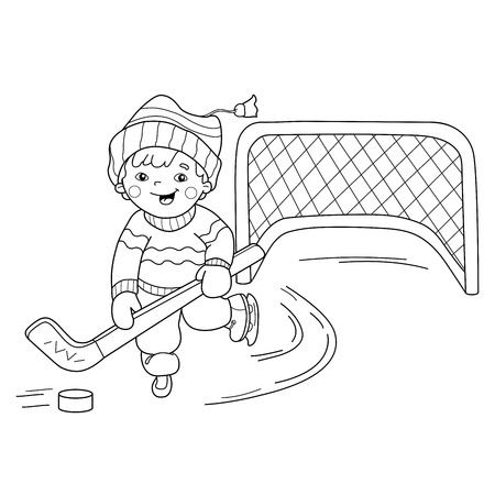 relay: Coloring Page Outline Of cartoon boy playing hockey. Winter sports. Coloring book for kids