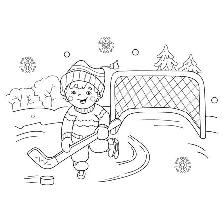 Malvorlagen Umriss Jungen spielen Hockey-Cartoon. Wintersport. Spielplatz. Malbuch für Kinder Standard-Bild - 68107870