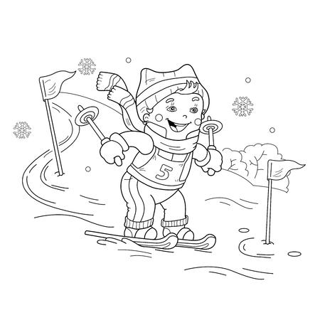 Kleurplaat Overzicht Van Cartoon Meisje Met Broer Sleeen Winter
