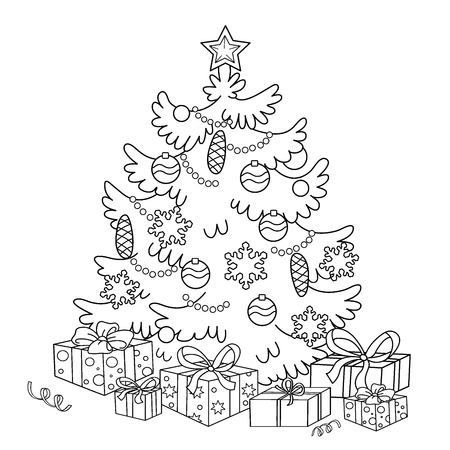 Coloring Page Outline Of cartoon Christmas tree with ornaments and gifts. Christmas. New year. Coloring book for kids