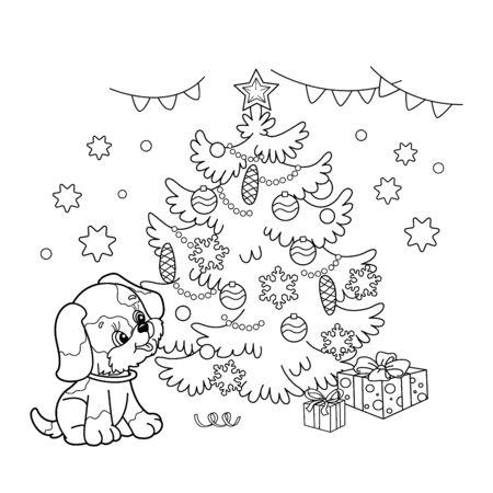 Página para colorear Esquema de árbol de Navidad con adornos y regalos con el cachorro. El año del perro. Navidad. Año nuevo. Libro de colorear para niños