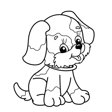 Coloring Page Outline Of Cartoon Dog Cute Puppy Sitting Pet Book For