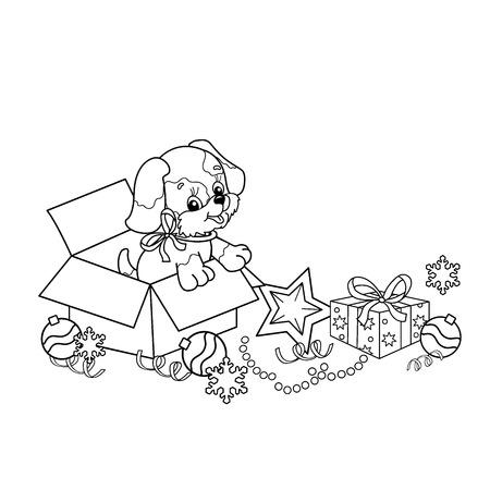 Kleurplaat Overzicht Van Cartoon Puppy Het Jaar Van De Hond Kerstmis Nieuwjaar Kleurboek Voor Kinderen