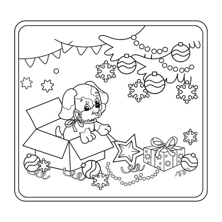 year of the dog: Coloring Page Outline Of Christmas tree with ornaments and gifts with puppy. The year of the dog. Christmas. New year. Coloring book for kids