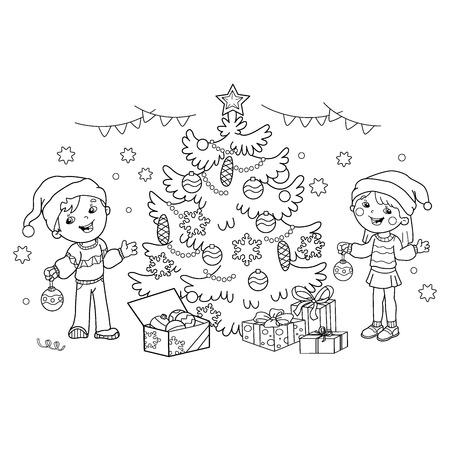 Malvorlage Der Weihnachtsdekoration Weihnachtsbaum Zweig Neujahr