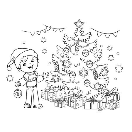 Página Para Colorear Esquema De Dibujos Animados Niños Decorar El ...