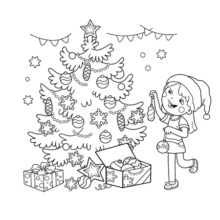 Coloring Page Outline Of cartoon girl decorating the Christmas tree with gifts. Christmas. New year. Coloring book for kids