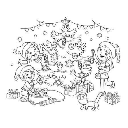 Kleurplaten Nieuwjaar En Kerstmis.Kleurplaten Omschrijving Van Kinderen Versieren De Kerstboom