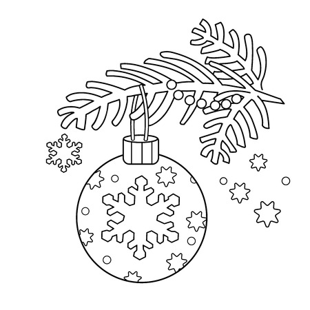 Coloring Page Outline Of Christmas decoration. Christmas tree branch. New year. Coloring book for kids