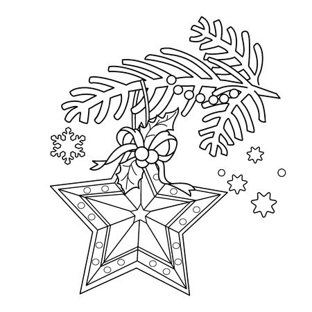 Coloring Page Outline Of Christmas Decoration Star Tree Branch New Year