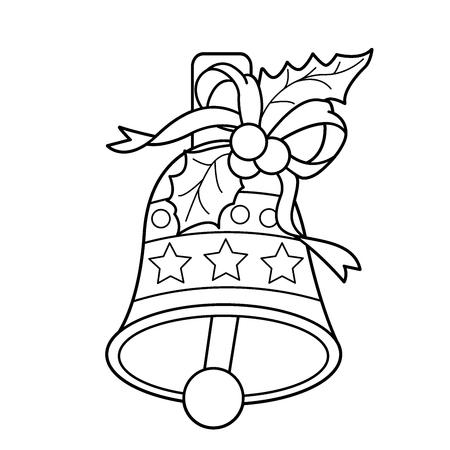 Dibujo Para Colorear Esquema De La Campana De Navidad. Navidad. Año ...