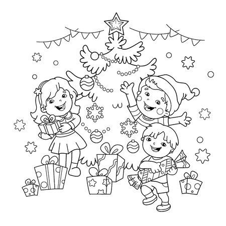 Coloring Page Outline Of children with gifts at Christmas tree. Christmas. New year. Coloring book for kids Stock Illustratie