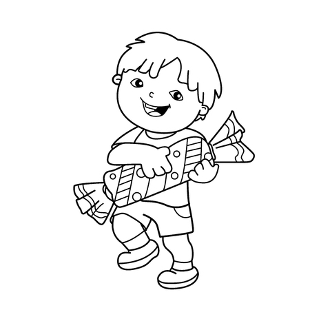 Coloring Page Outline Of Cartoon Boy With Candy Book