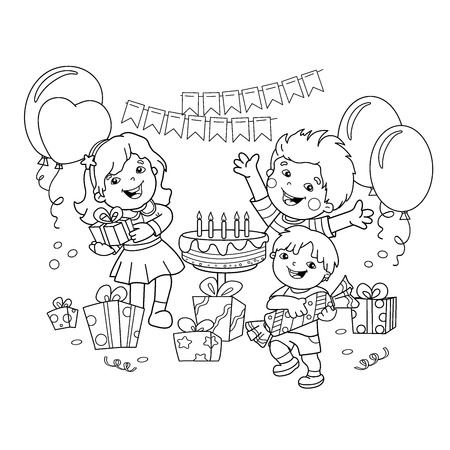 Fiesta De Niños Con Dibujos Animados De Globos Para Colorear ...