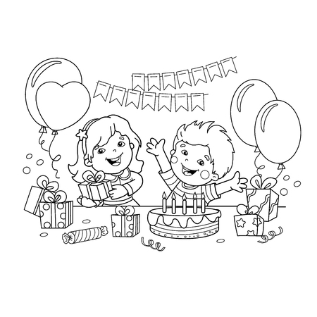 Coloring Page Outline Of Children With A Gifts At The Holiday ...