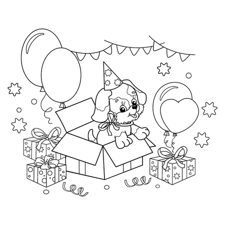 Coloring Page Outline Of cute puppy. Cartoon dog with bow. Gift for the holiday. Birthday. Coloring book for kids 向量圖像