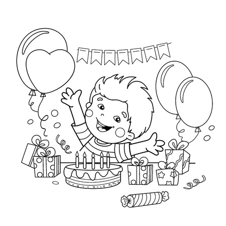Coloring Page Outline Of cartoon boy with a gifts at the holiday. Birthday. Coloring book for kids 矢量图像