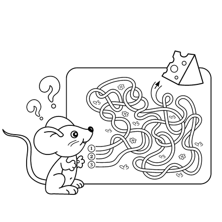 found it: Cartoon Vector Illustration of Education Maze or Labyrinth Game for Preschool Children. Puzzle. Tangled Road. Coloring Page Outline Of little mouse with cheese. Coloring book for kids. Illustration