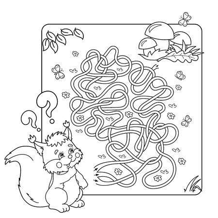 found it: Cartoon Vector Illustration of Education Maze or Labyrinth Game for Preschool Children. Puzzle. Tangled Road. Coloring Page Outline Of squirrel with mushrooms. Coloring book for kids. Illustration