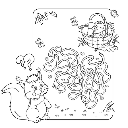 found it: Cartoon Vector Illustration of Education Maze or Labyrinth Game for Preschool Children. Puzzle. Tangled Road. Coloring Page Outline Of squirrel with basket of mushrooms. Coloring book for kids. Illustration