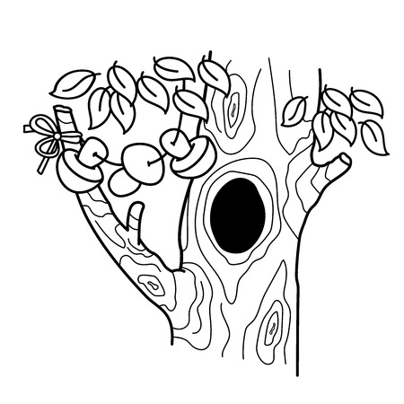 Coloring Page Outline Of cartoon tree with a hollow. Home or dwelling for squirrels. Coloring book for kids