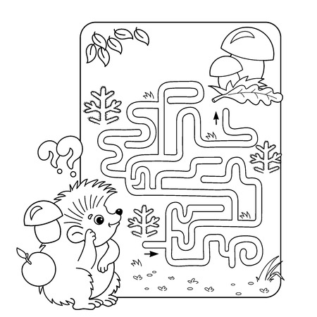 Cartoon Vector Illustration of Education Maze or Labyrinth Game for Preschool Children. Puzzle. Coloring Page Outline Of hedgehog with mushrooms. Coloring book for kids. 矢量图像