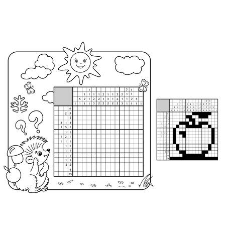 Educatie Puzzelspel voor school Kinderen. Appel. Zwart-wit Japans kruiswoordraadsel met antwoord. Grafisch kruiswoordraadsel. Coloring Page Omschrijving van egel. Kleurboek voor kinderen