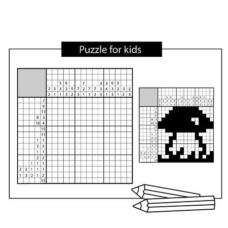 Paddestoel. Zwart en wit Japanse puzzel met antwoord. Grafisch kruiswoordraadsel. Puzzel voor kinderen. Puzzel spel voor elke leeftijd.