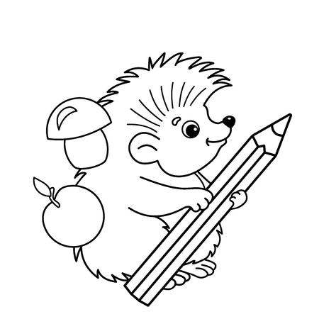 Dibujo Para Colorear Contorno De Dibujos Animados Erizo Con Lápiz Dibujo Para Colorear Para Niños
