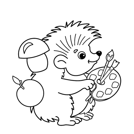 Dibujo Para Colorear Contorno De Dibujos Animados Erizo Con Lápiz ...