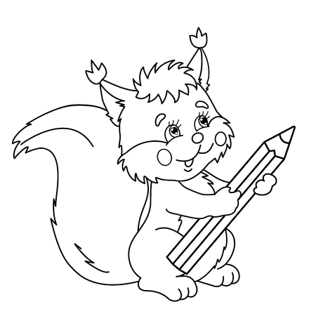 Coloring Page Outline Of Cartoon Squirrel With Pencil Coloring