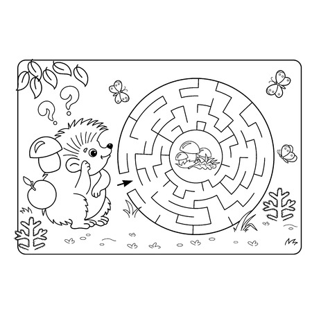 found it: Cartoon Vector Illustration of Education Maze or Labyrinth Game for Preschool Children. Puzzle. Coloring Page Outline Of hedgehog with mushrooms. Coloring book for kids. Illustration