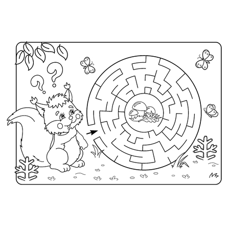 found it: Cartoon Vector Illustration of Education Maze or Labyrinth Game for Preschool Children. Puzzle. Coloring Page Outline Of squirrel with mushrooms. Coloring book for kids.