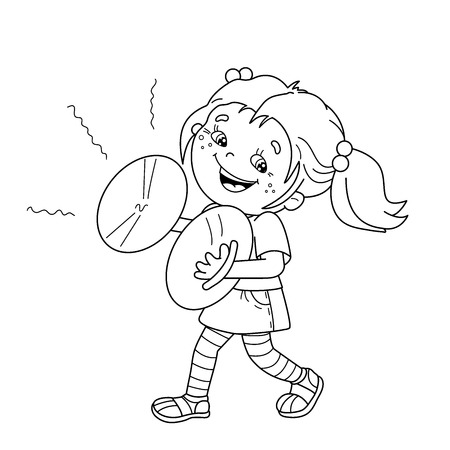 Coloring Page Outline Of cartoon girl playing the cymbals. Musical instruments. Coloring book for kids