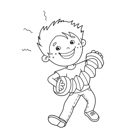 Coloring Page Outline Of cartoon Boy playing the accordion. Musical instruments. Coloring book for kids Illustration