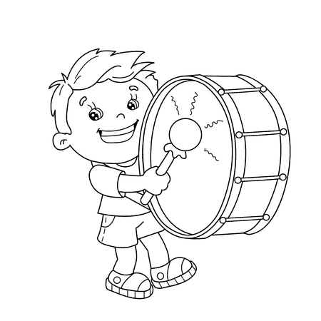 coloring page outline of cartoon boy playing the drum musical instruments coloring book for - Coloring Book For Boys