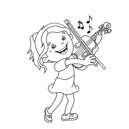 Página Para Colorear Esquema De Niño De Dibujos Animados Tocando El ...