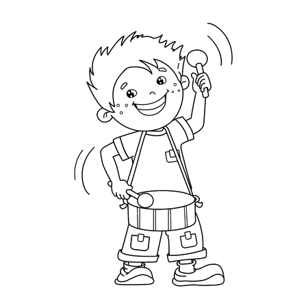 Coloring Page Outline Of Cartoon Boy Playing The Drum Musical Instruments Book For