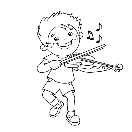 Coloring Page Outline Of cartoon Boy playing the violin. Musical instruments. Coloring book for kids