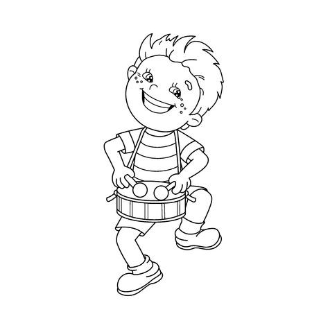 漫画ページのアウトラインの色ドラムを弾いている少年。