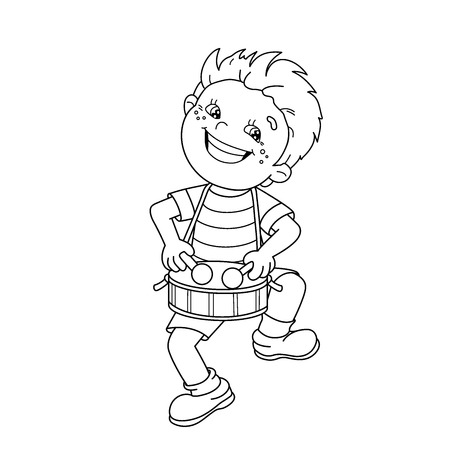 Coloring Page Outline Of cartoon Boy playing the drum.