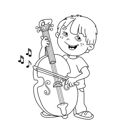 Färbung Seite Umriss Der Karikatur Junge Spielt Das Cello ...