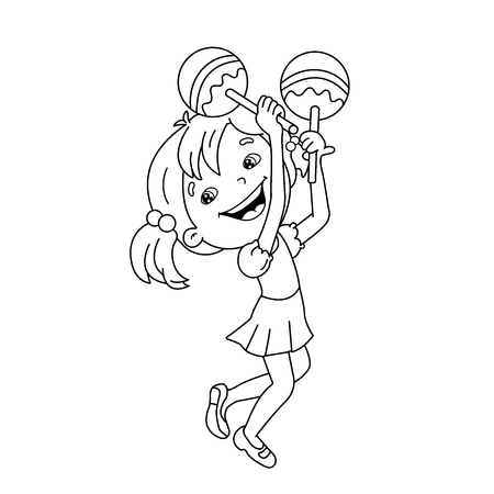 Coloring Page Outline Of cartoon girl playing the maracas. Musical instruments. Coloring book for kids 矢量图像